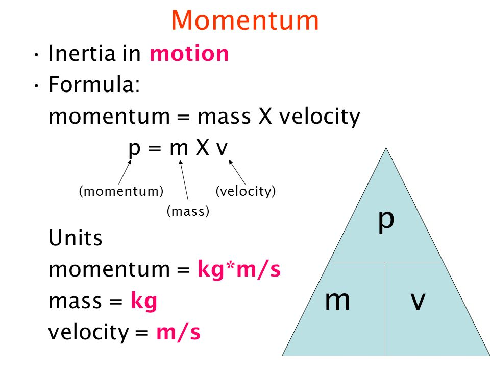 formula for momentum with velocity and mass relationship