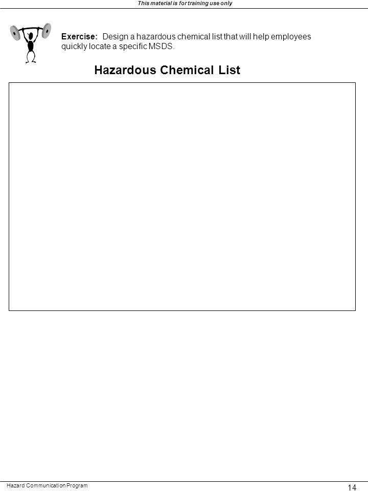 Hazardous Chemical List