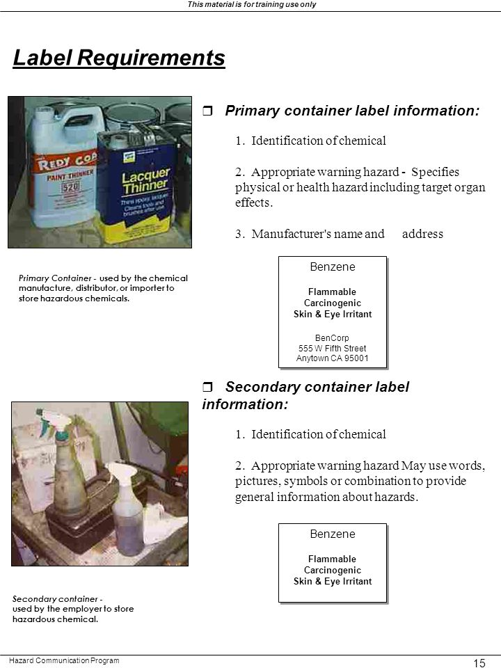 Label Requirements r Primary container label information: