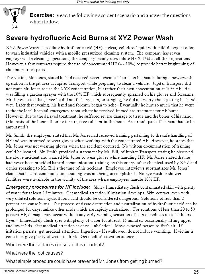 Severe hydrofluoric Acid Burns at XYZ Power Wash