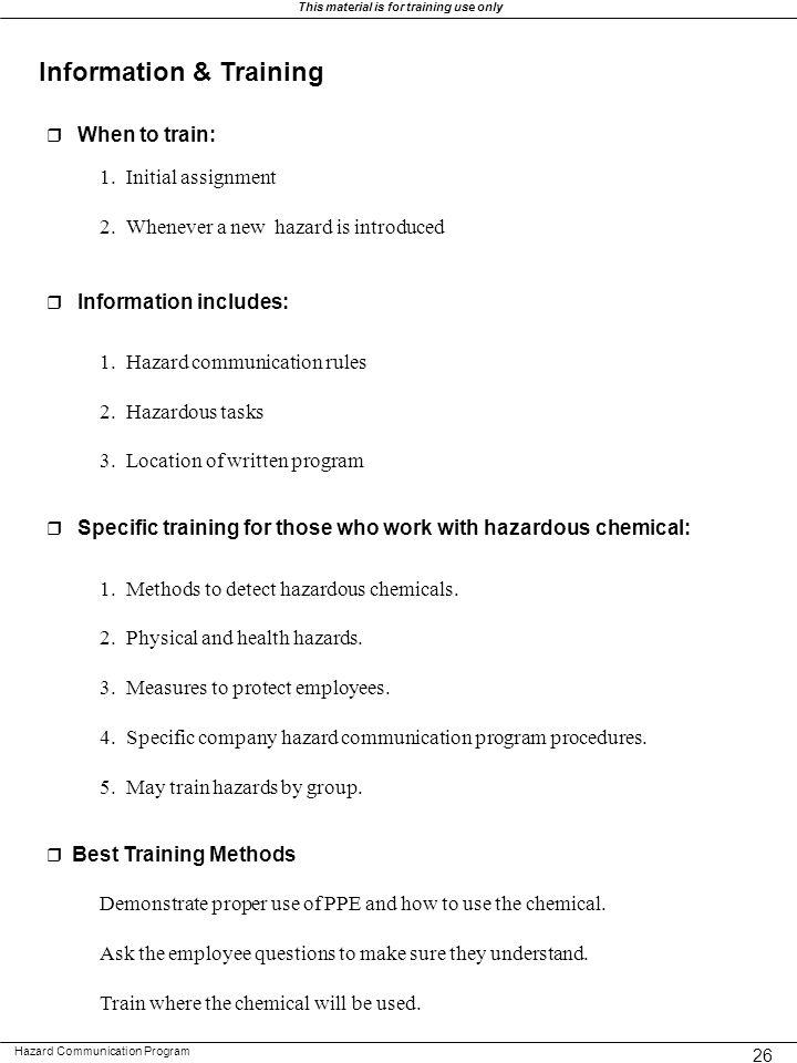 Information & Training