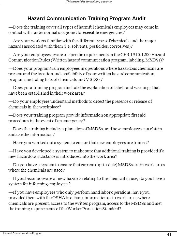 Hazard Communication Training Program Audit