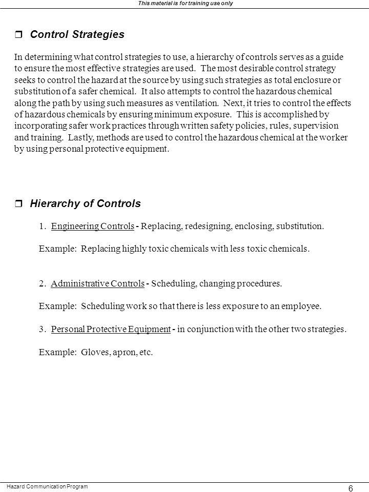 r Control Strategies