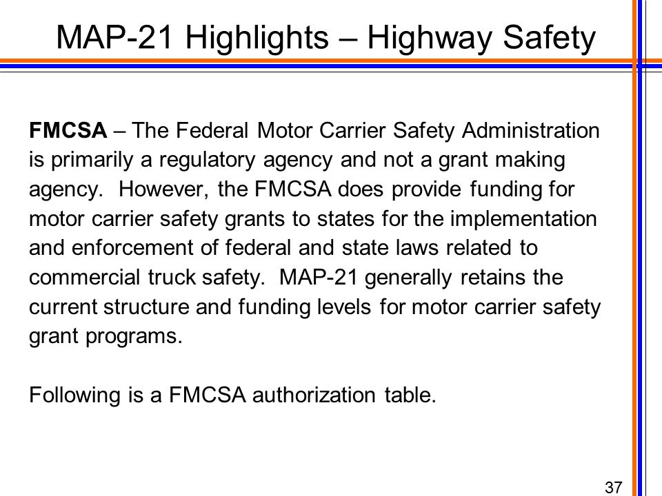 Map 21 moving ahead for progress in the 21st century act for What is the federal motor carrier safety regulations