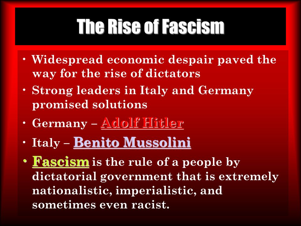 rise of fascism in germany essay According to this narrative, the already antisemitic germans were simply waiting   and anti-fascist politics, a confrontation between the nazis and the  capital's  support was certainly decisive to hitler's rise, but a nazi victory.