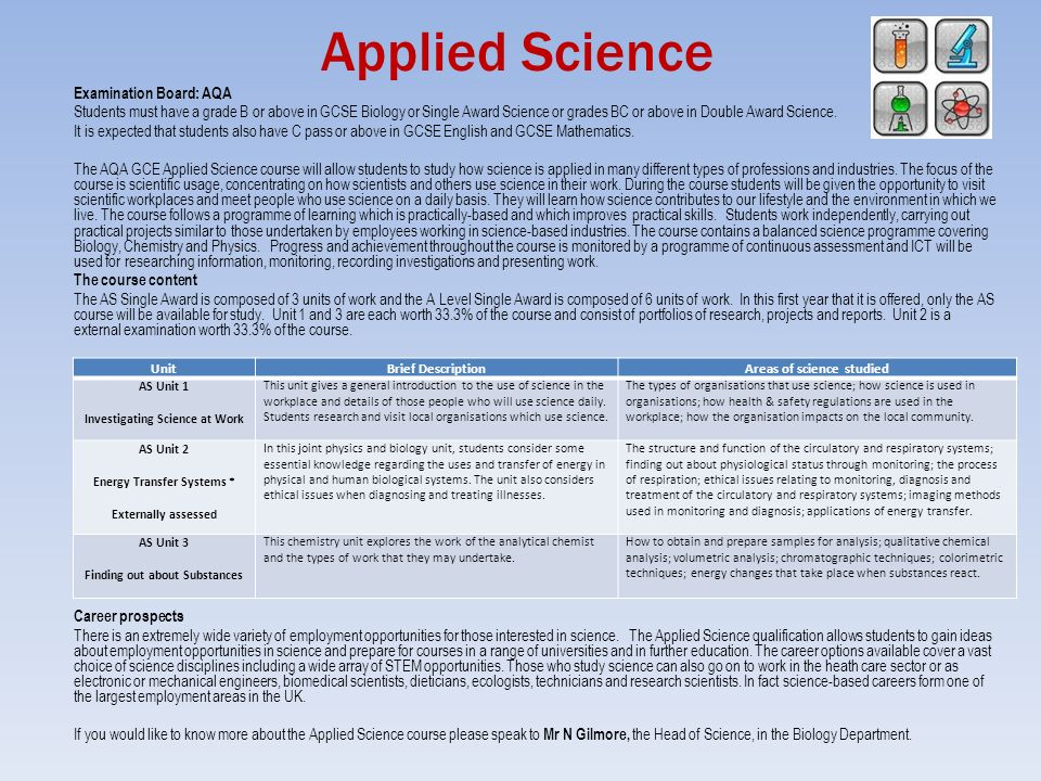 gcse applied science coursework Applied science course listing the gcse science course is aimed at students who need a science eastleigh college is pleased to announce the completion of.