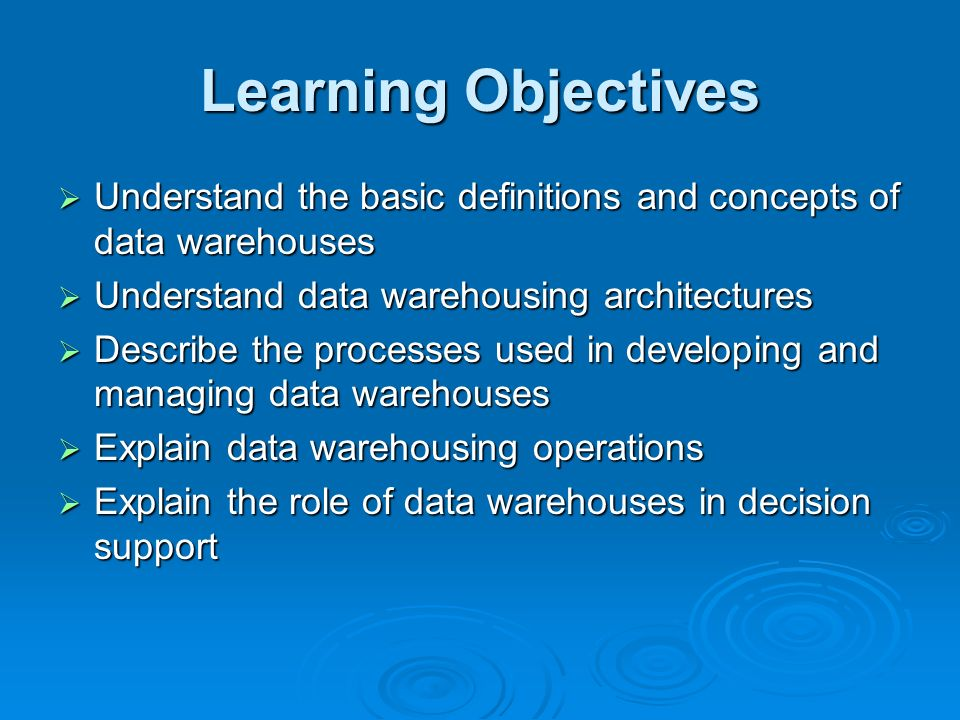 Data warehouses decision support and data