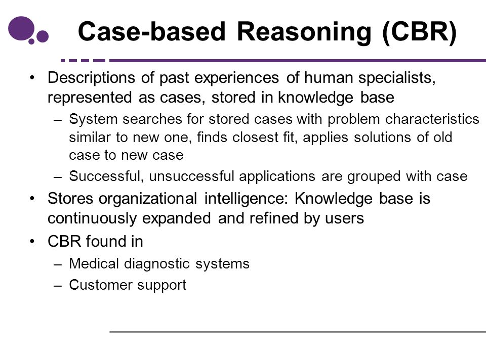 technical analysis of expert systems knowledge based systems and cased based reasoning systems This paper presents a simultaneous optimization method of a case-based reasoning (cbr) system using a genetic algorithm (ga) for financial forecasting prior research proposed many hybrid models of cbr and the ga for selecting a relevant feature subset or optimizing feature weights most research.