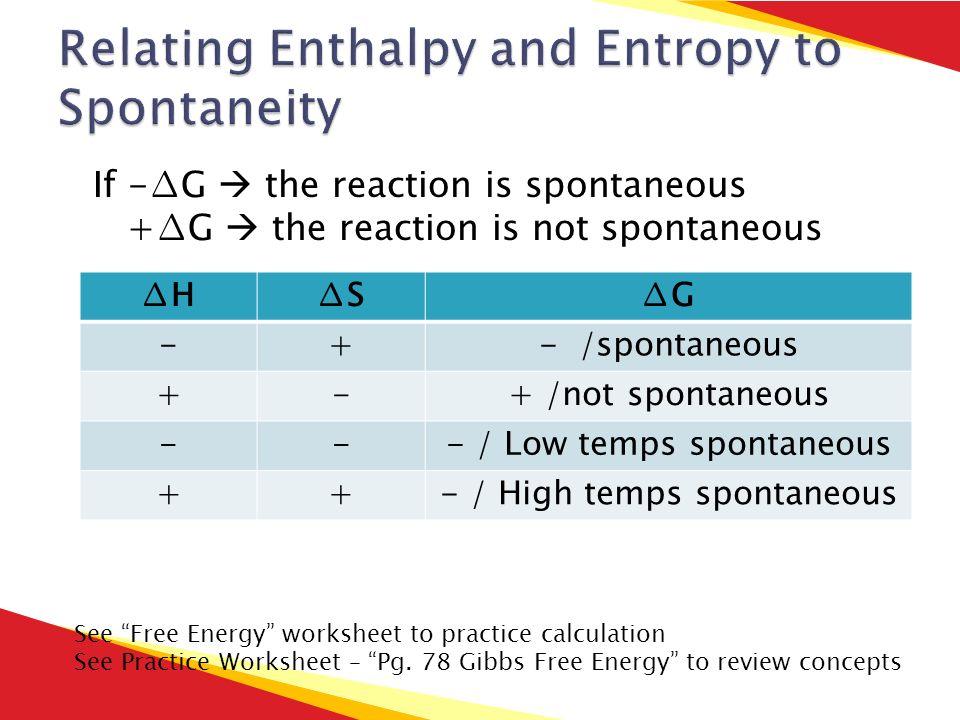 Chapter 16 Reaction Energy ppt download – Entropy Worksheet