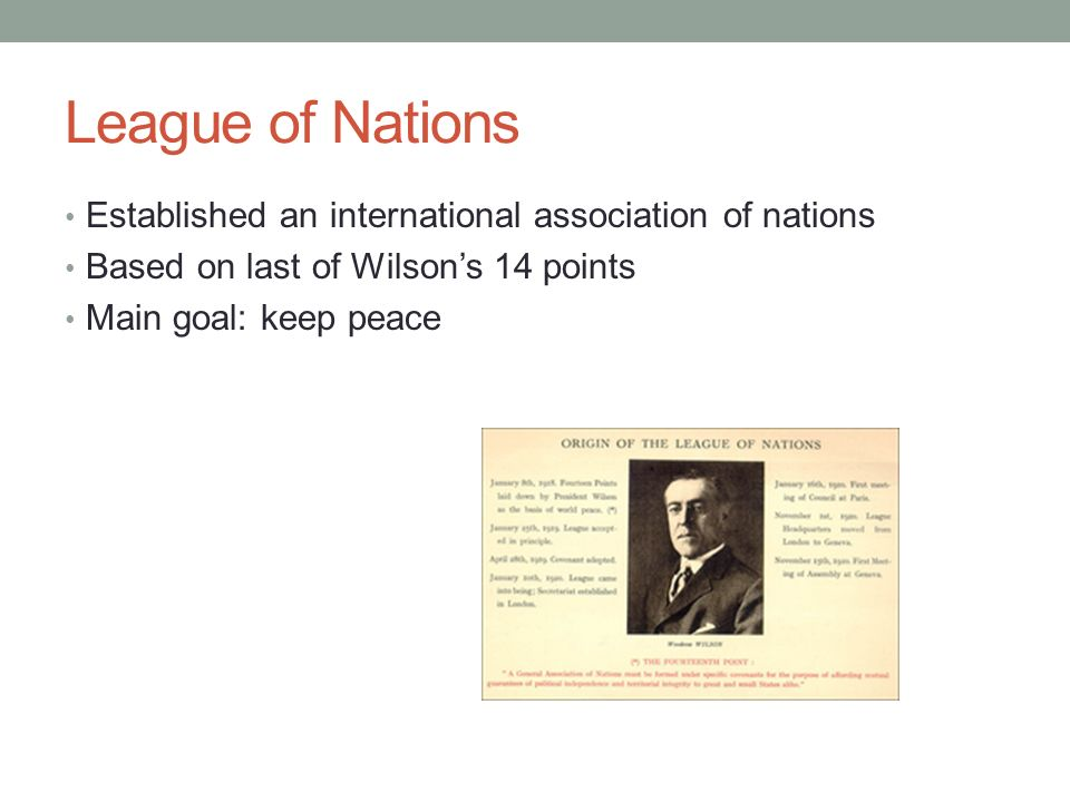 League of Nations Established an international association of nations