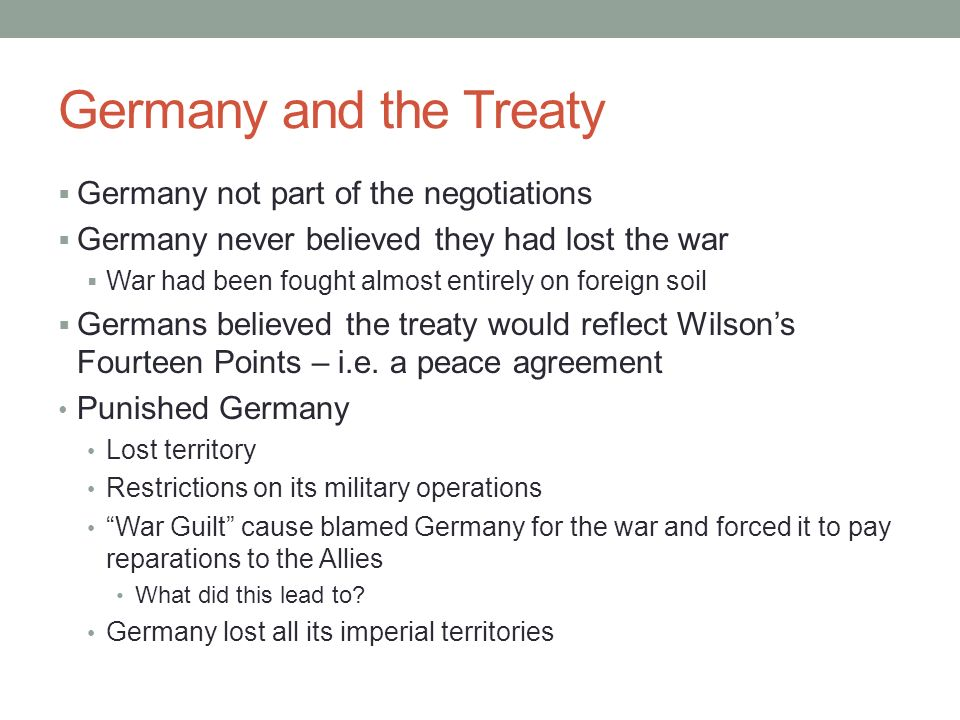Germany and the Treaty Germany not part of the negotiations