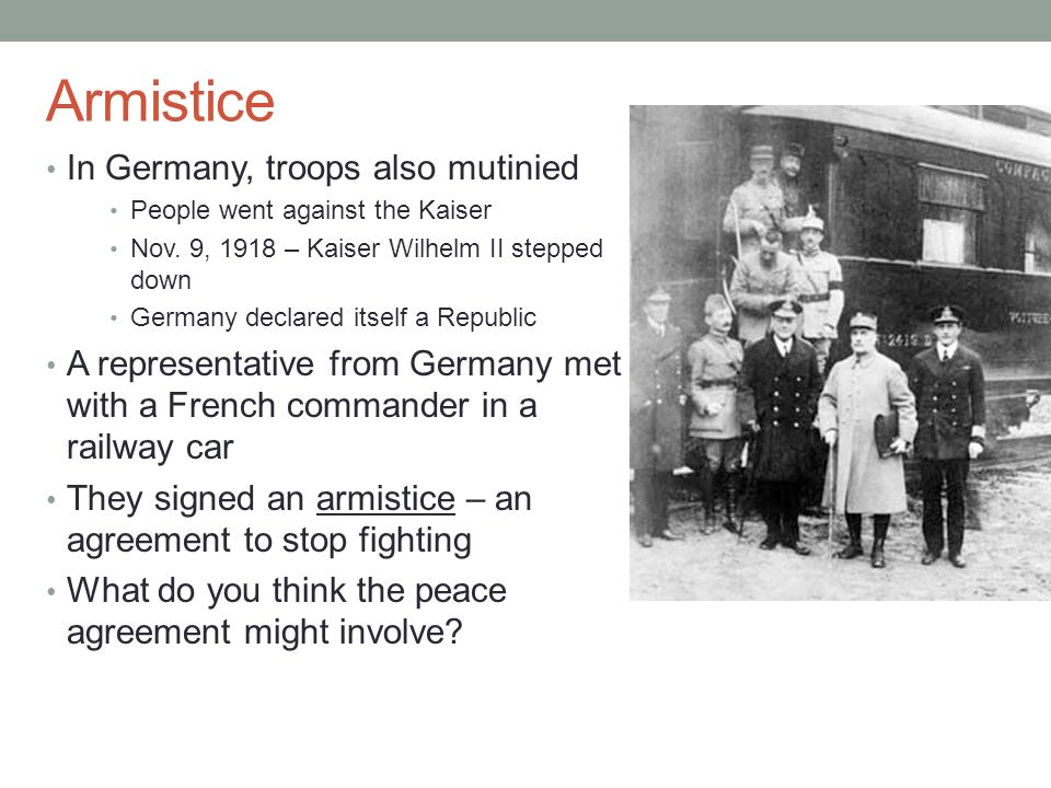 Armistice In Germany, troops also mutinied
