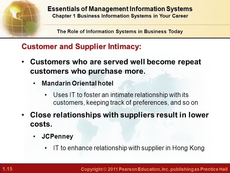the impact of information systems on customer and supplier intimacy Using information systems to achieve competitive advantage  strengthen  customer and supplier intimacy: use information systems to tighten linkages  be  applied and where information systems are most likely to have a strategic impact.