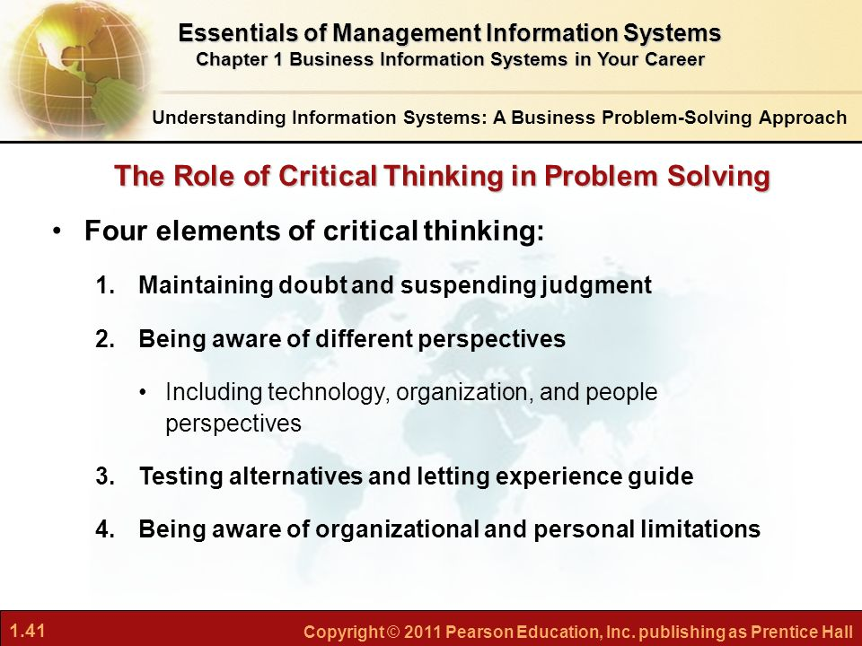 "role of critical thinking in problem solving The importance of critical thinking and problem solving essay 998 words 4 pages ""an army leader is any one who by virtue of assumed role or assigned responsibility inspires and influences peoples to accomplish organizational goals she or he motivates people both inside and outside the chain of command to pursue."