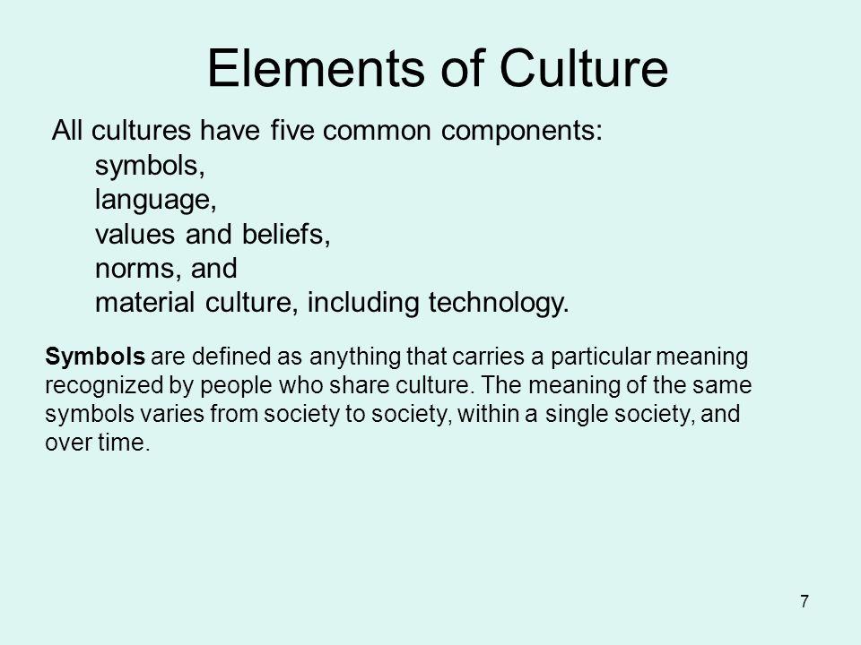 Components Of Culture Are Symbols Language Values Beliefs Norms