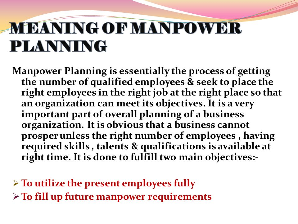 definition connected with manpower planning for business