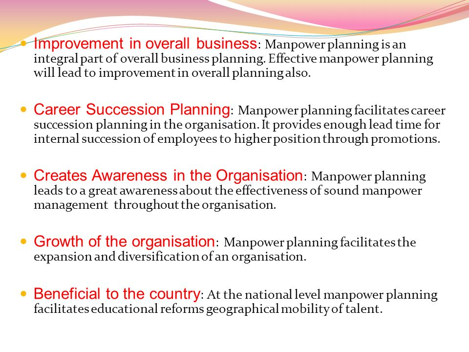 micro level manpower planning On the basis of level on period basis macro-level micro-level short period medium period long period (national level) (industrial unit level) 5 manpower planning.