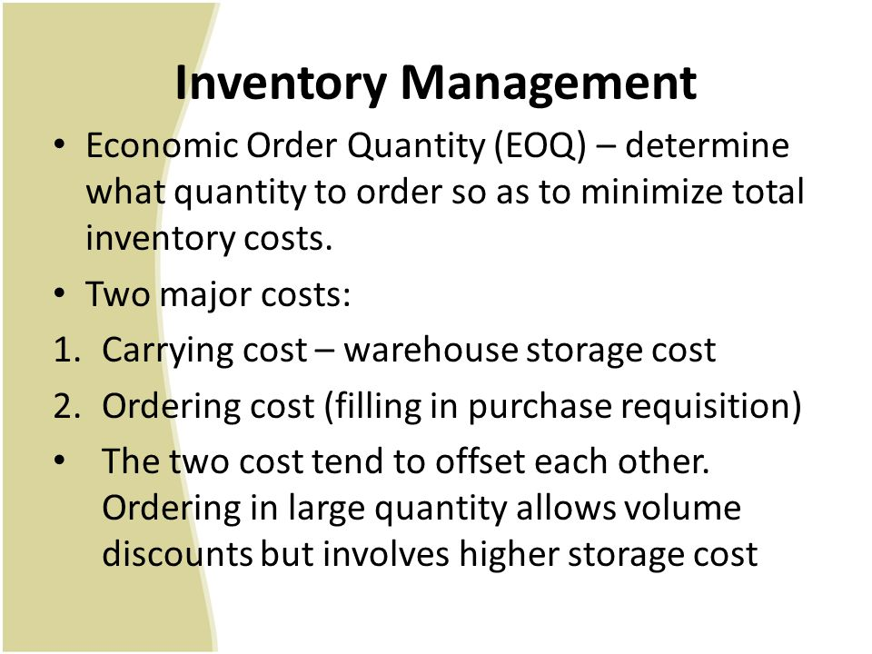 inventory and order quantity This paper shows how to model a problem to find optimal number of replenishments in the fixed-order quantity system as a basic problem of optimal control of the.