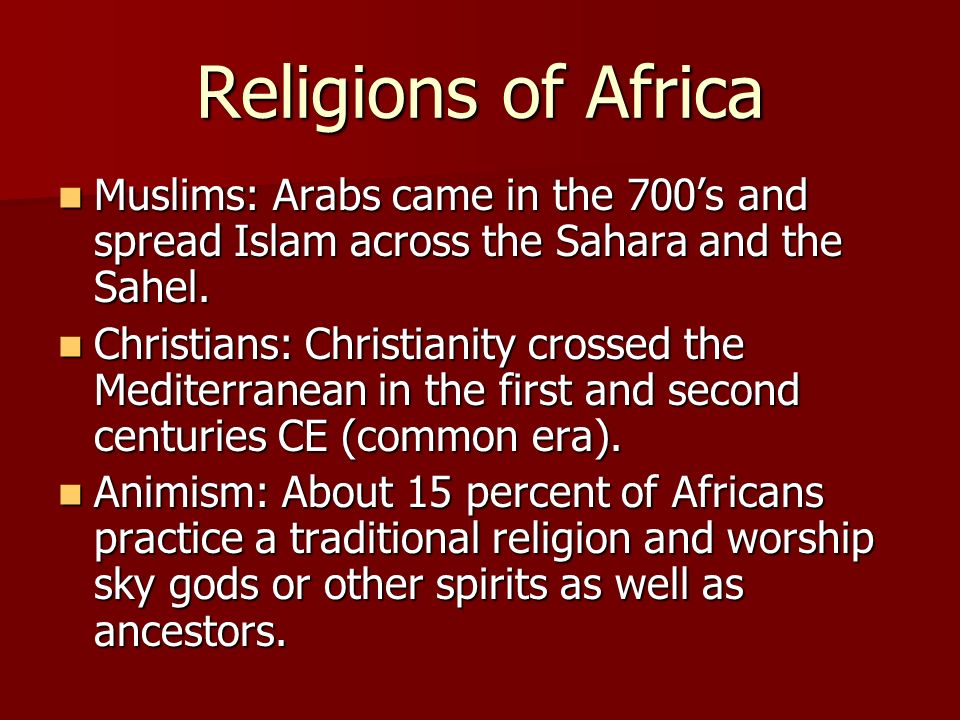 animism christianity and islam While christianity and islam vie for supremacy in many countries, they have  failed to  they are an important element in animist healing rituals.