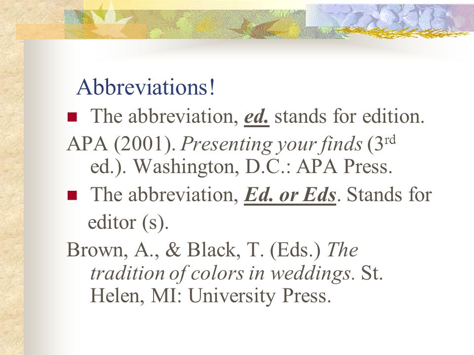 how to use abbreviations in apa