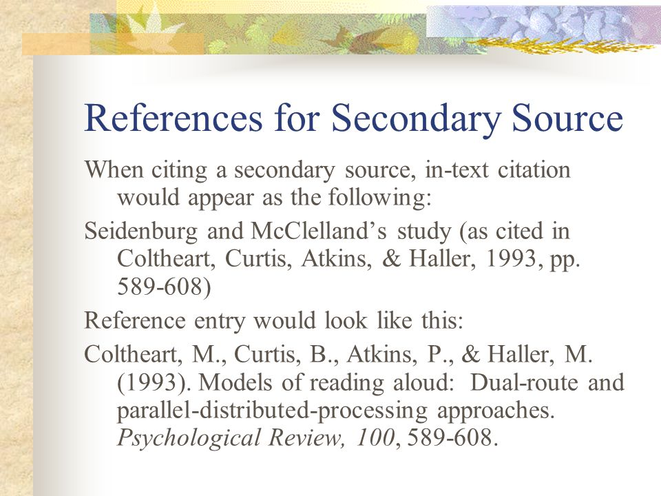 citing secondary sources in an essay