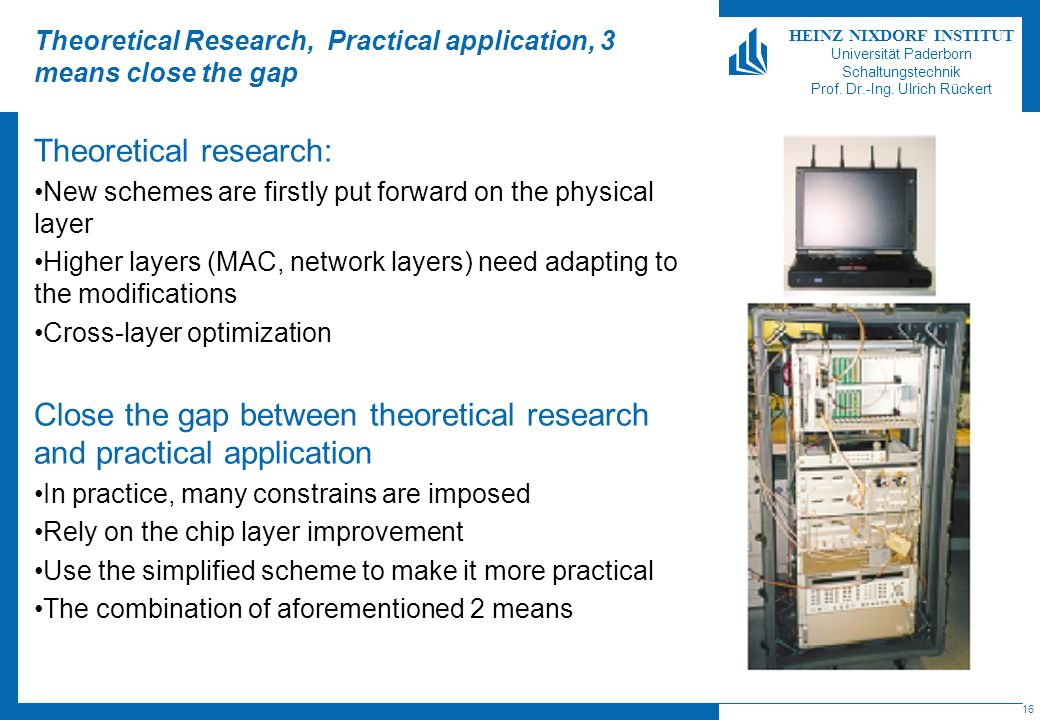 Theoretical Research, Practical application, 3 means close the gap