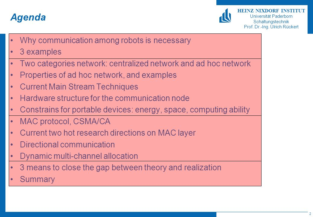 Agenda Why communication among robots is necessary 3 examples