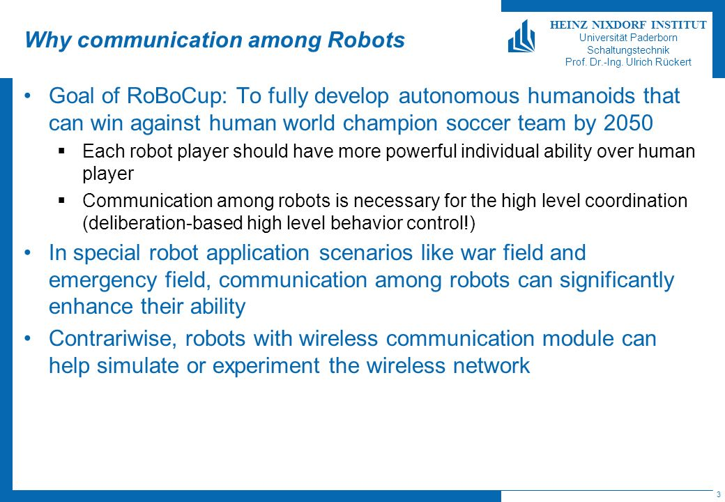 Why communication among Robots