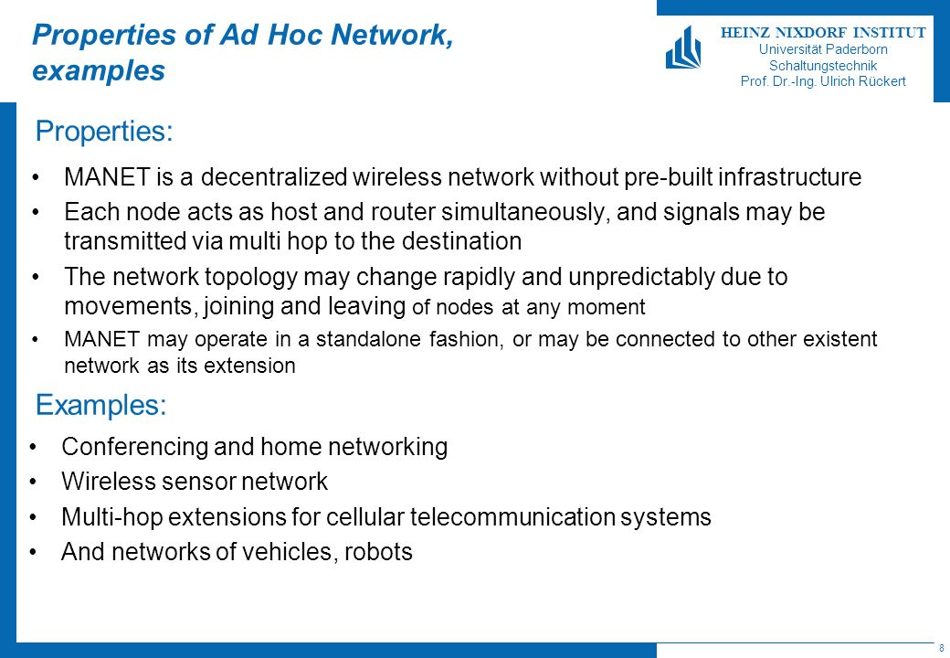 Properties of Ad Hoc Network, examples