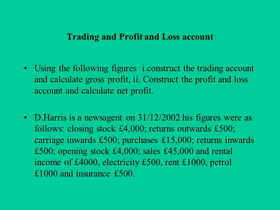 trading profit and loss account pdf