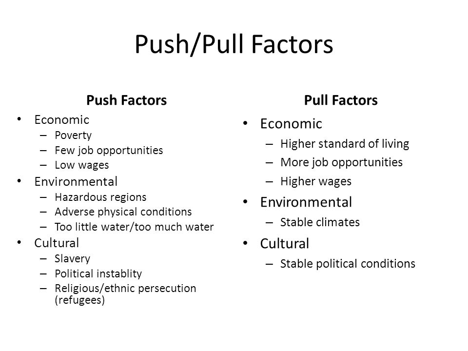 pull push factors of entrepreneurship Motivational factors in a push‐pull theory of entrepreneurship to date, research has focused on the factors motivating men and women separately what is missing from this research is an analysis of the comparative differences in these motivators of men and women, and an exploration of what this means in terms of push‐pull theory.