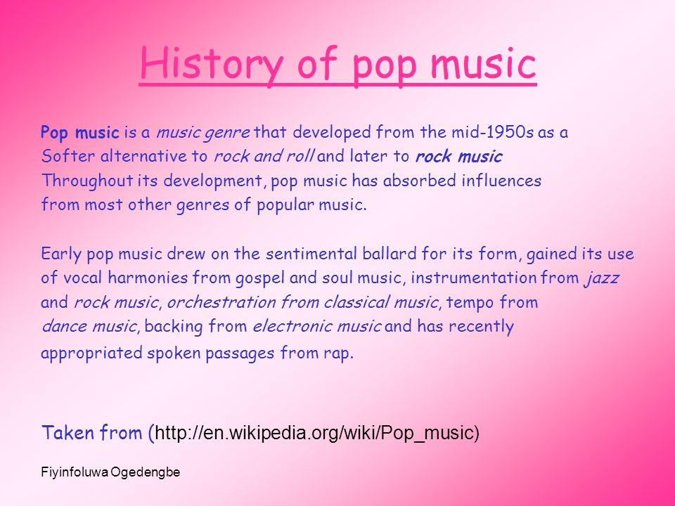the history of popular music and its genres History of music jump to navigation  and its music served as the focal point for musical development for the first  us popular music timeline music history.