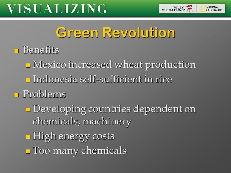 pros of green revolution The green revolution which already sprouted in the early part of the century only need to add a bit more momentum and we will see a bright future for the human race, a future without hunger and starvation ¡v hopefully.