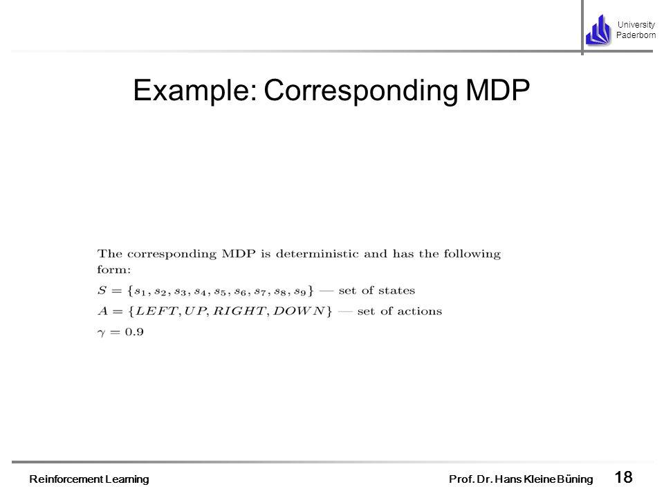 Example: Corresponding MDP