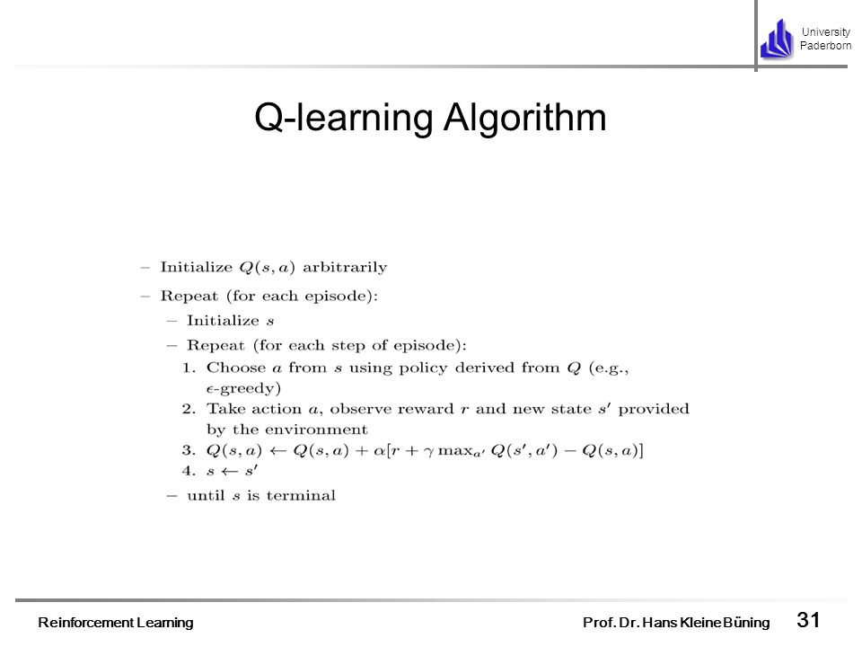 Q-learning Algorithm One of the most important breakthroughs in reinforcement learning was the development of Q-learning algorithm.