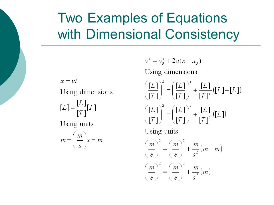 Two Examples of Equations with Dimensional Consistency