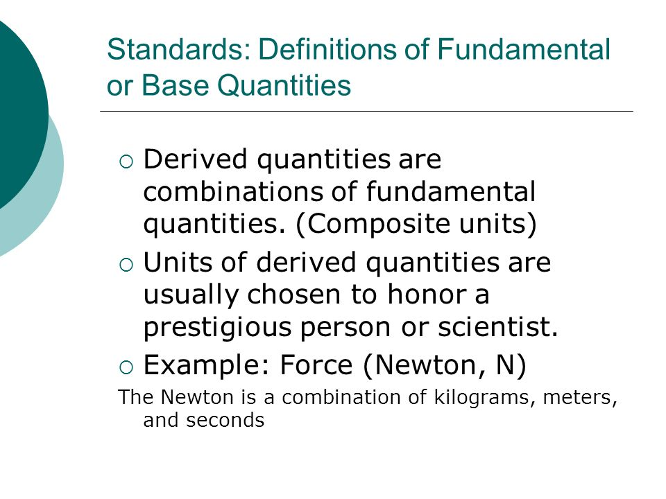 Standards: Definitions of Fundamental or Base Quantities