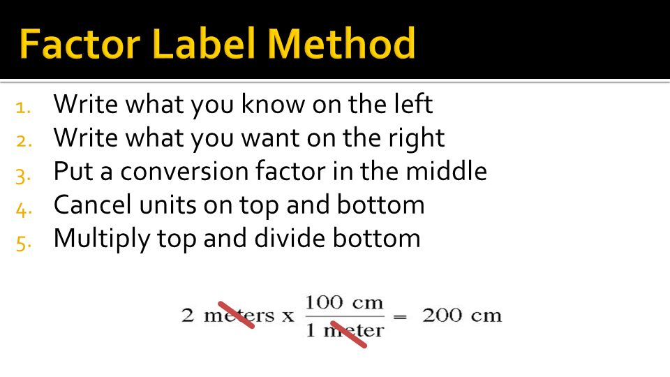 Factor Label Method Write what you know on the left