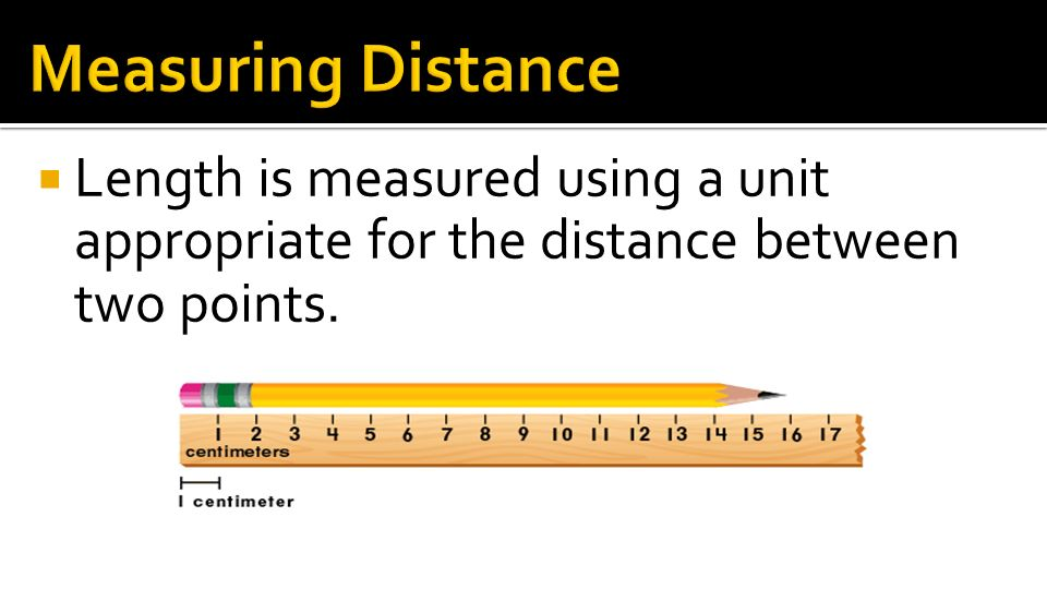 Measuring Distance Length is measured using a unit appropriate for the distance between two points.
