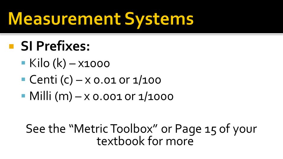See the Metric Toolbox or Page 15 of your textbook for more