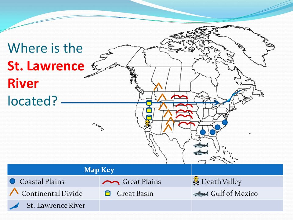 Important Physical Features In The United States Ppt Video - Us map with st lawrence river