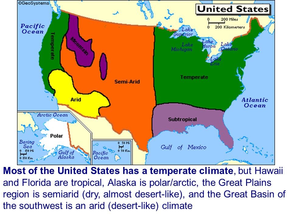 Most of the United States has a temperate climate but Hawaii and