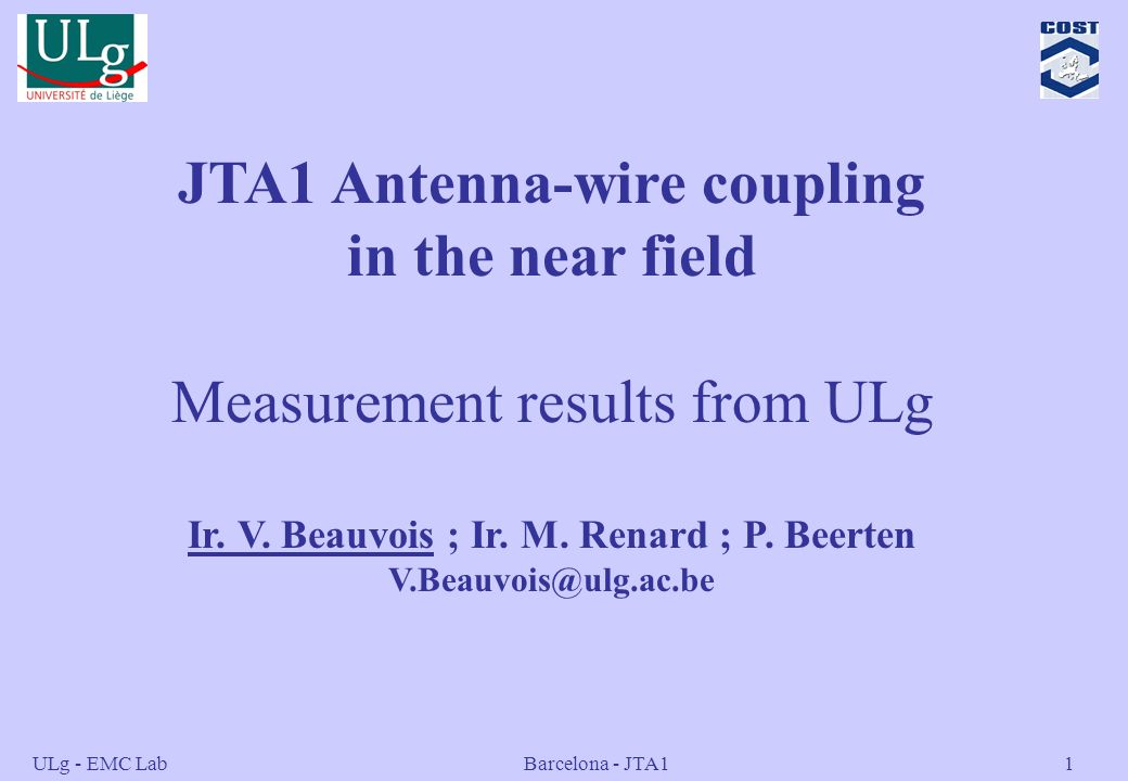 JTA1 Antenna-wire coupling in the near field