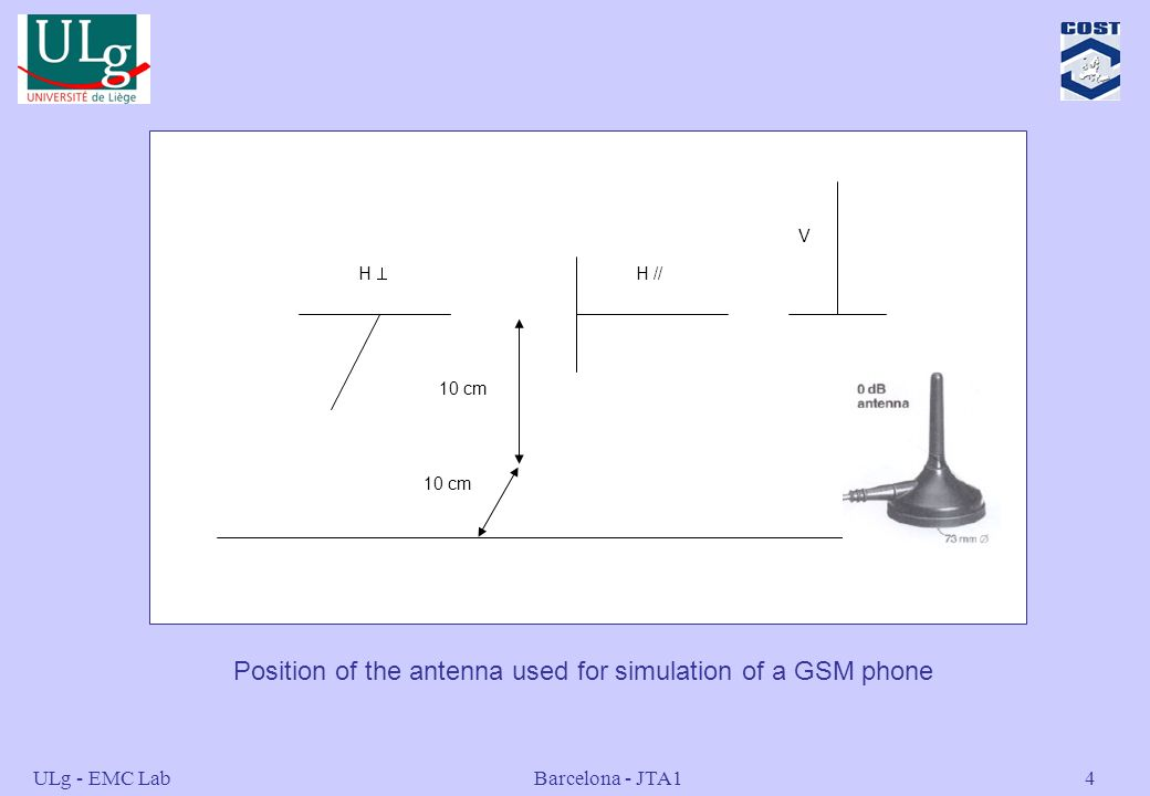 Position of the antenna used for simulation of a GSM phone