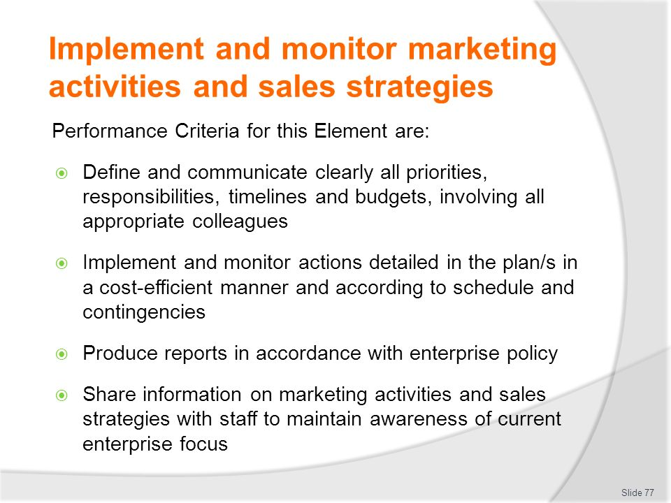 DEVELOP A MARKETING STRATEGY AND COORDINATE SALES ACTIVITIES - ppt ...