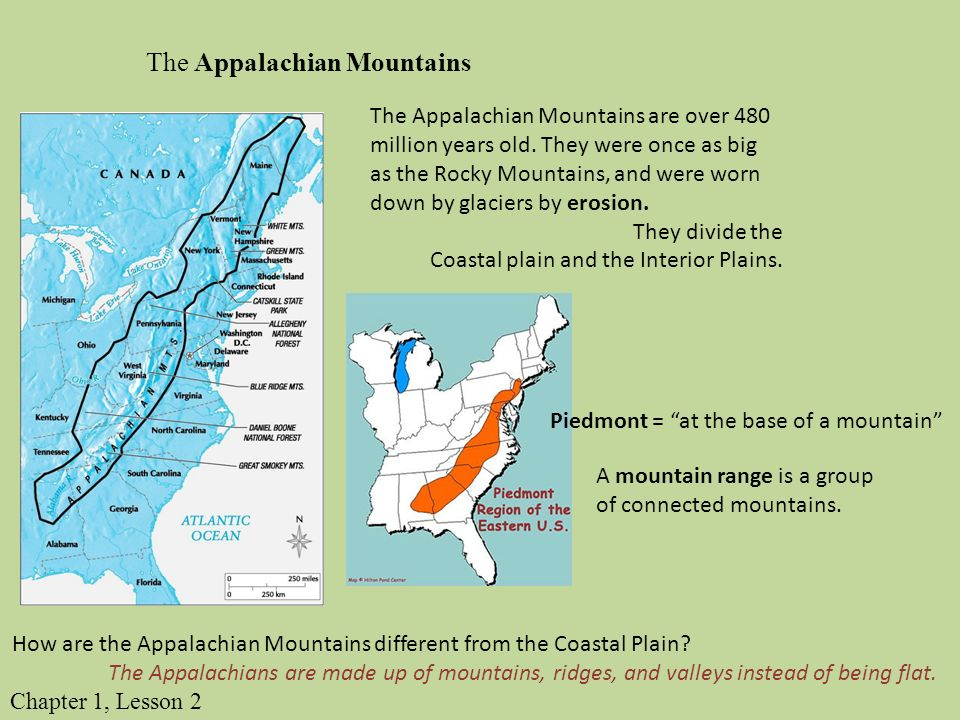 The Land Identify And Describe The Landform Regions Of The United - Appalachian mountains on a us map