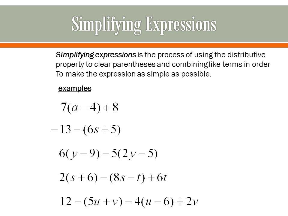 simplifying expression /en/algebra-topics/writing-algebraic-expressions/content/ simplifying expressions simplifying an expression is just another way to say solving a math problem.