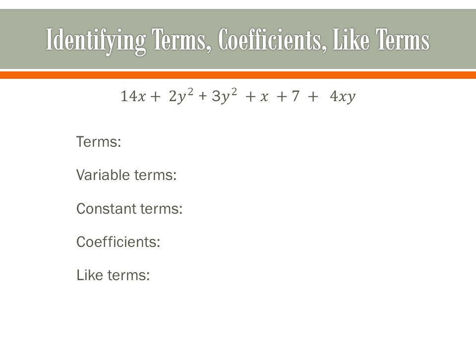 how to write like terms with coefficients