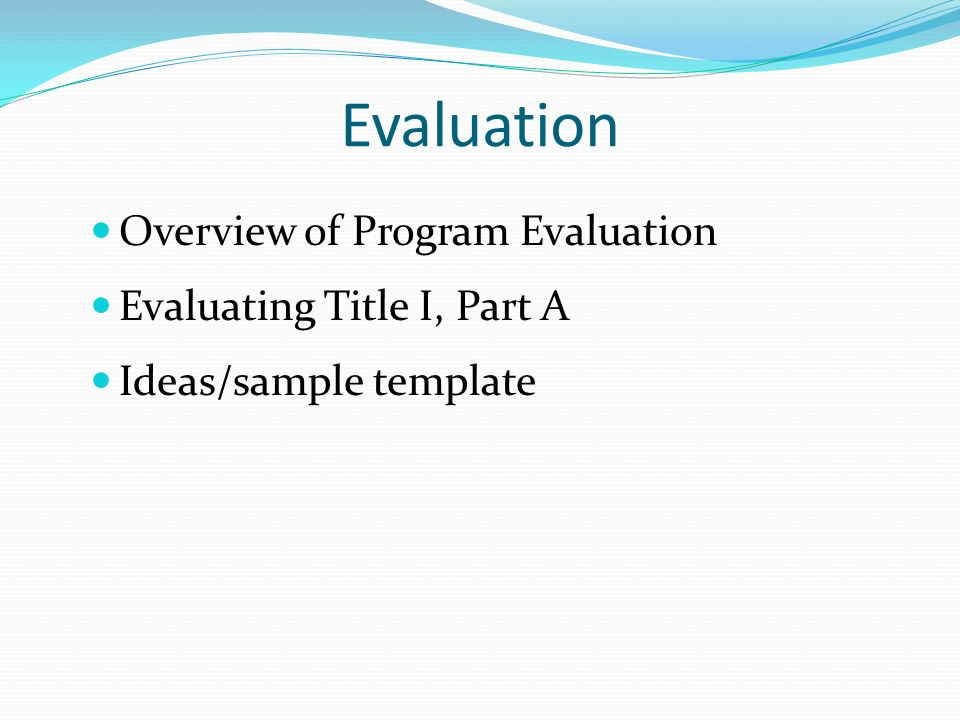 2 Evaluation Overview Of Program Evaluation Evaluating ...
