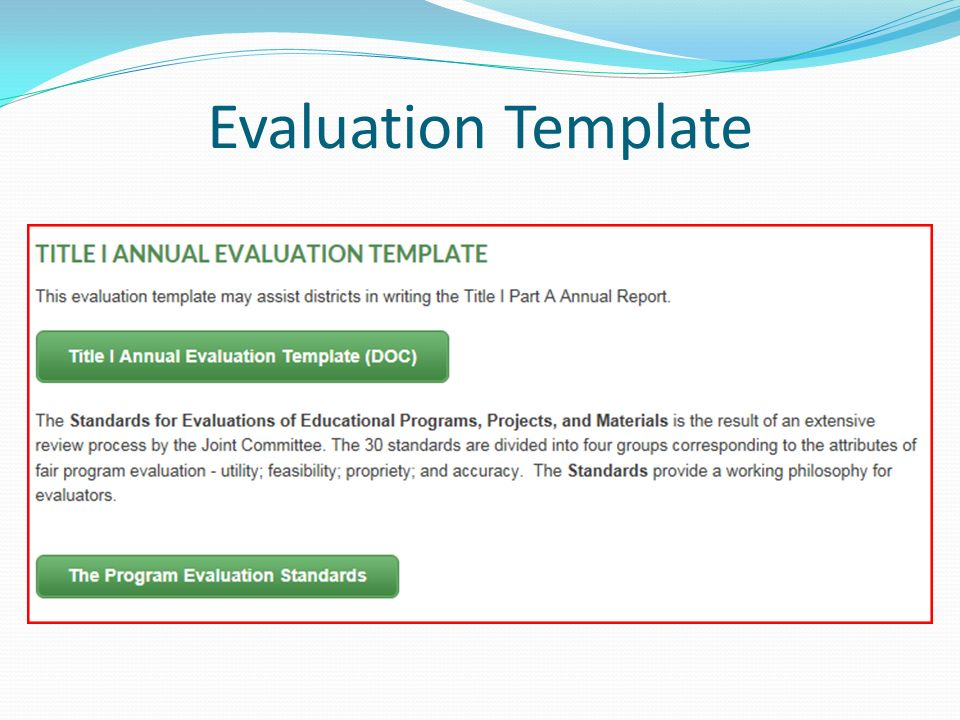 Evaluation A Focus On Title I Part A Julie E Mcleod  Ppt Download